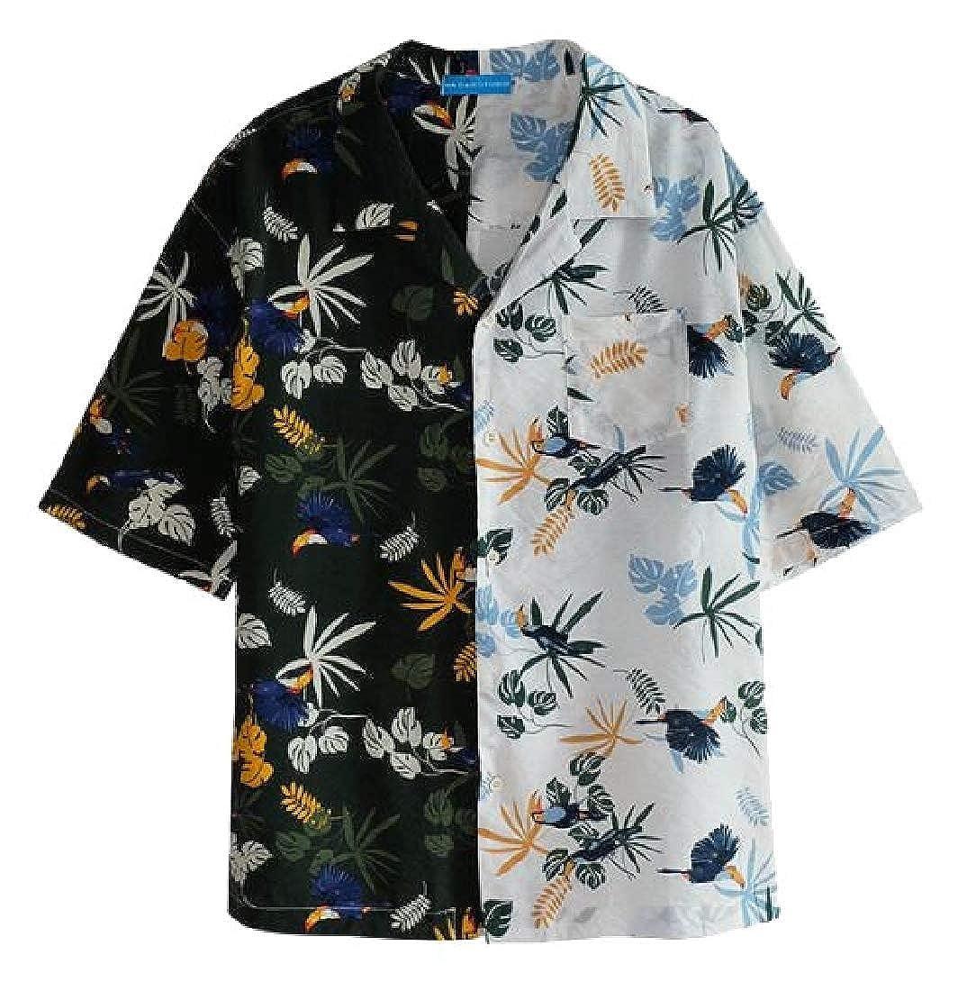 Alion Men Hawaiian Short Sleeves Shirt Print Casual Button Down Beach Shirts