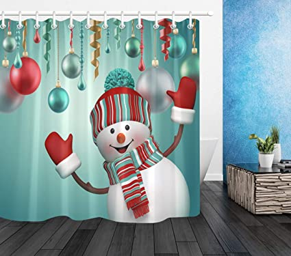 LB Christmas Snowman Shower Curtainwith Funny Ornaments Ribbon Balls Xmas Decor Curtain