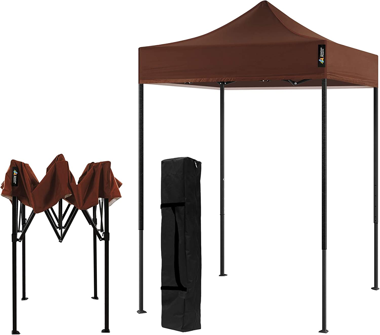 AMERICAN PHOENIX Canopy Tent 5x5 Pop Up Portable Tent Commercial Outdoor Instant Sun Shelter (5'x5' (Black Frame), Brown)