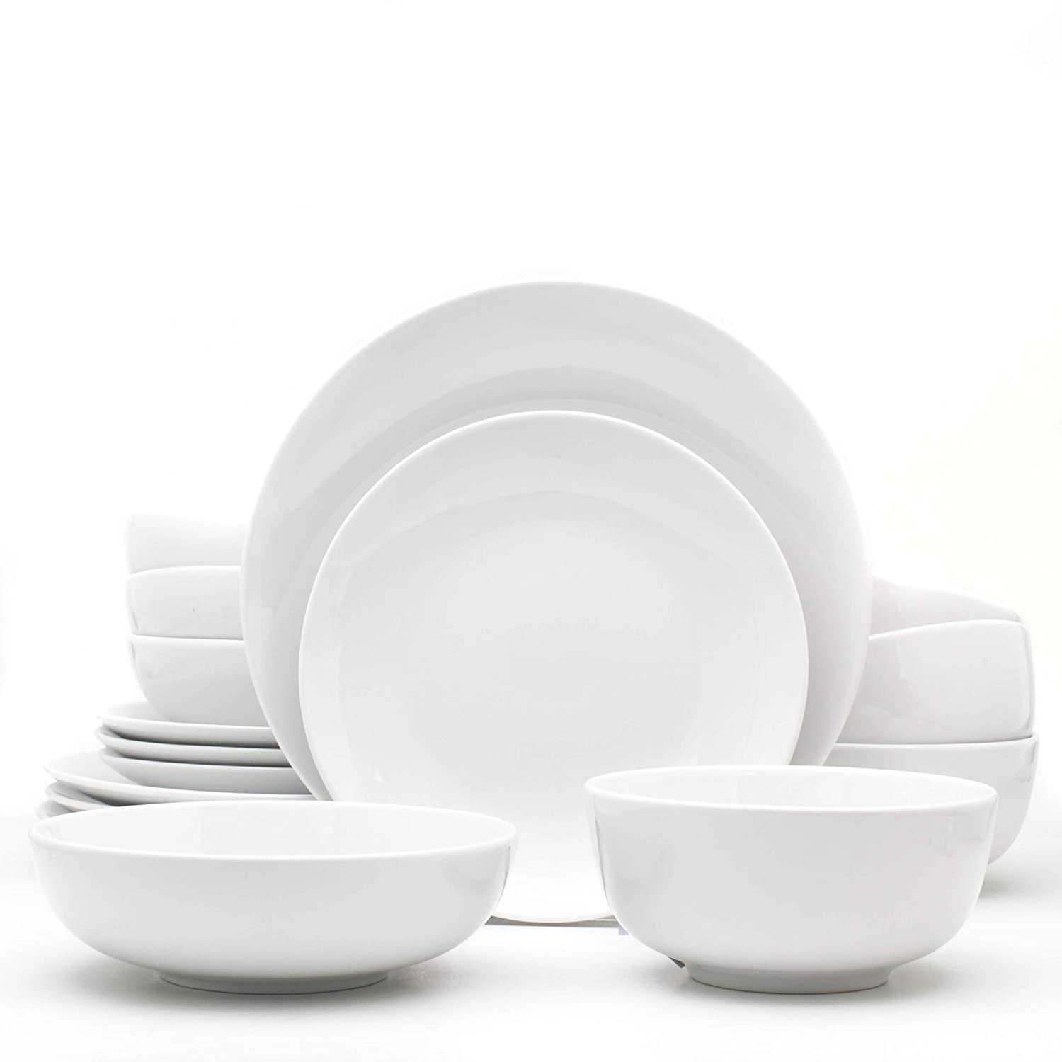 Euro Ceramica WHT-868160 White Essential Dinnerware and Serveware, 16 Piece Set, Service for 4