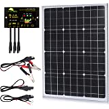 50 Watts Mono Crystalline 12V Off Grid Solar Panel Kit - Waterproof 50W Solar Panel + Photocell 10A Solar Charge…