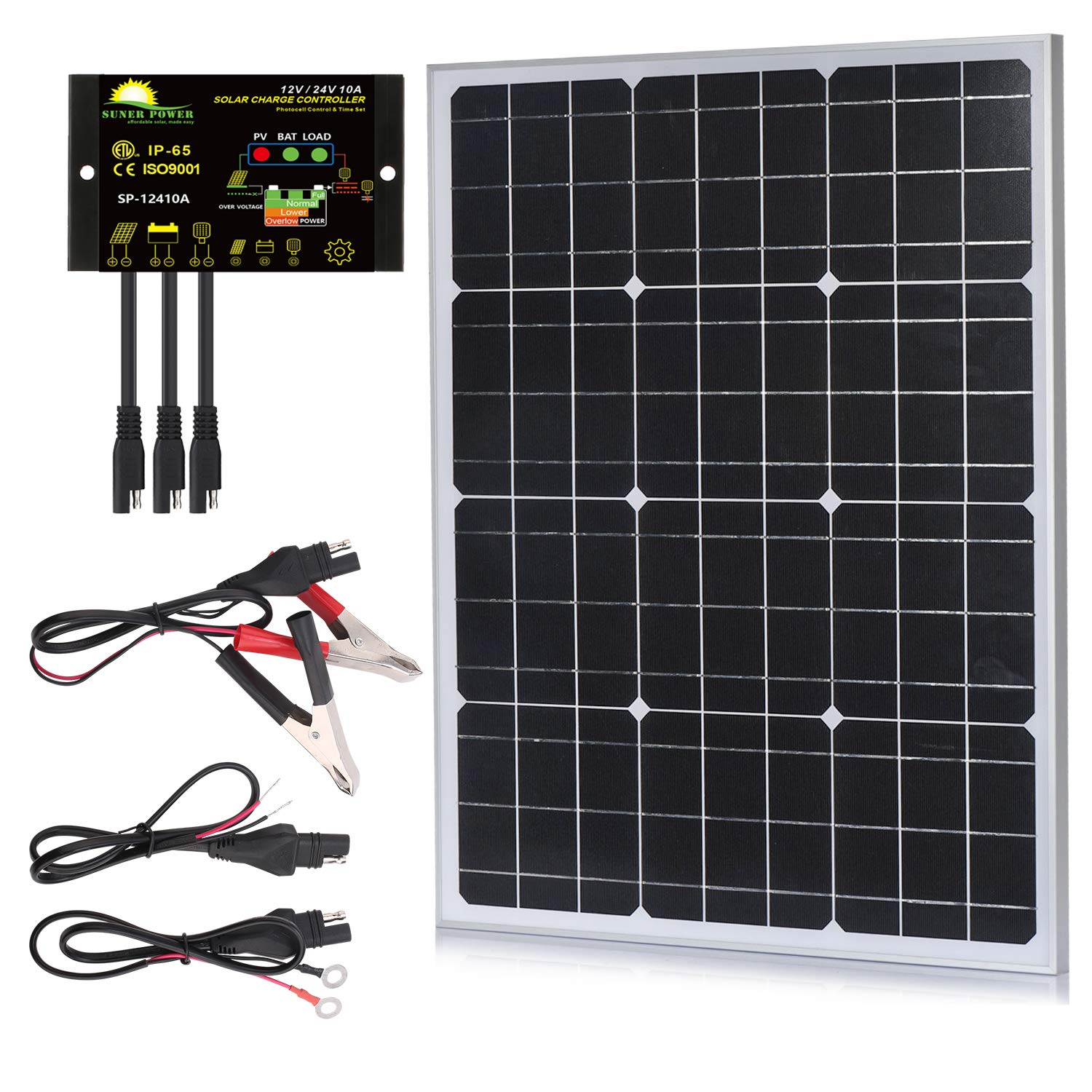 SUNER POWER 50 Watts Mono Crystalline 12V Off Grid Solar Panel Kit - Waterproof 50W Solar Panel + Photocell 10A Solar Charge Controller with Work Time Setting + SAE Connection Cable Kits by SUNER POWER