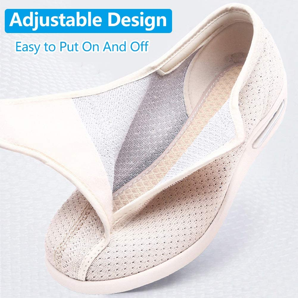Orthoshoes Womens Diabetic Walking Shoes Comfort for Elderly Womens Edema Swollen Feet Breathable Mesh Supportive Sneakers Lightweight Adjustable Strap Plantar Fasciitis Slippers