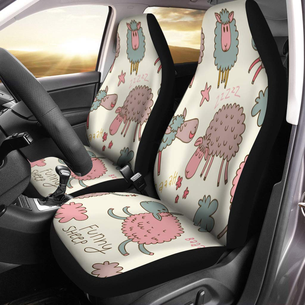 Semtomn Front Car Seat Covers Set Of 2 Blue Cute Cartoon Sheep In Childish Pastel Colors Colorful Fit Most Vehicle Cars Truck Suv Van Amazon In Car Motorbike