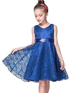 8da6ab15f55 21KIDS Girls Lace Dress Elegant Long Wedding Party Bridesmaid Princess  Pageant Dresses