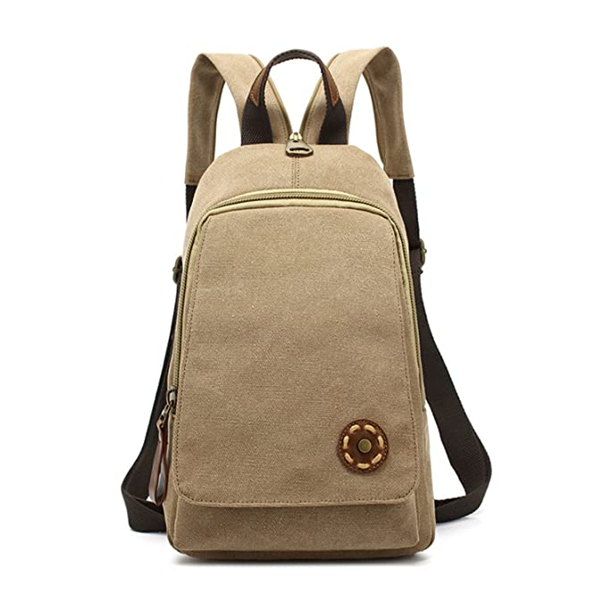 Amazon.com: Melissa Wilde Women Backpack Simple Chest Pack Small Vintage Canvas Backpacks School Bags Casual Travel Mochila One Shoulder Strap Rucksack ...