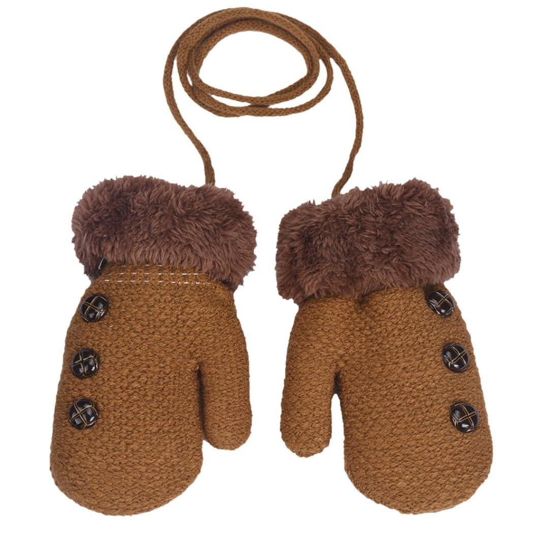 BANG Toddler Unisex Baby Gloves Button Solid Color Winter Warm Mitten with Rope