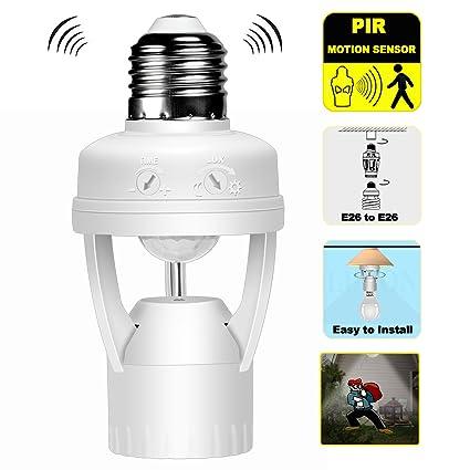Motion Sensing Light Socket Outdoor Amazon motion sensor light socket adapter holder with infrared motion sensor light socket adapter holder with infrared pir sensor adjustable time and lux switch e26 workwithnaturefo