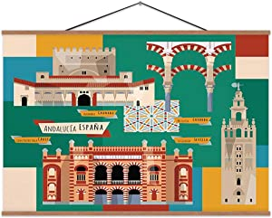 Sights of Andalusia.Seville,Canvas Posters Granada for Home Decoration 24x12in