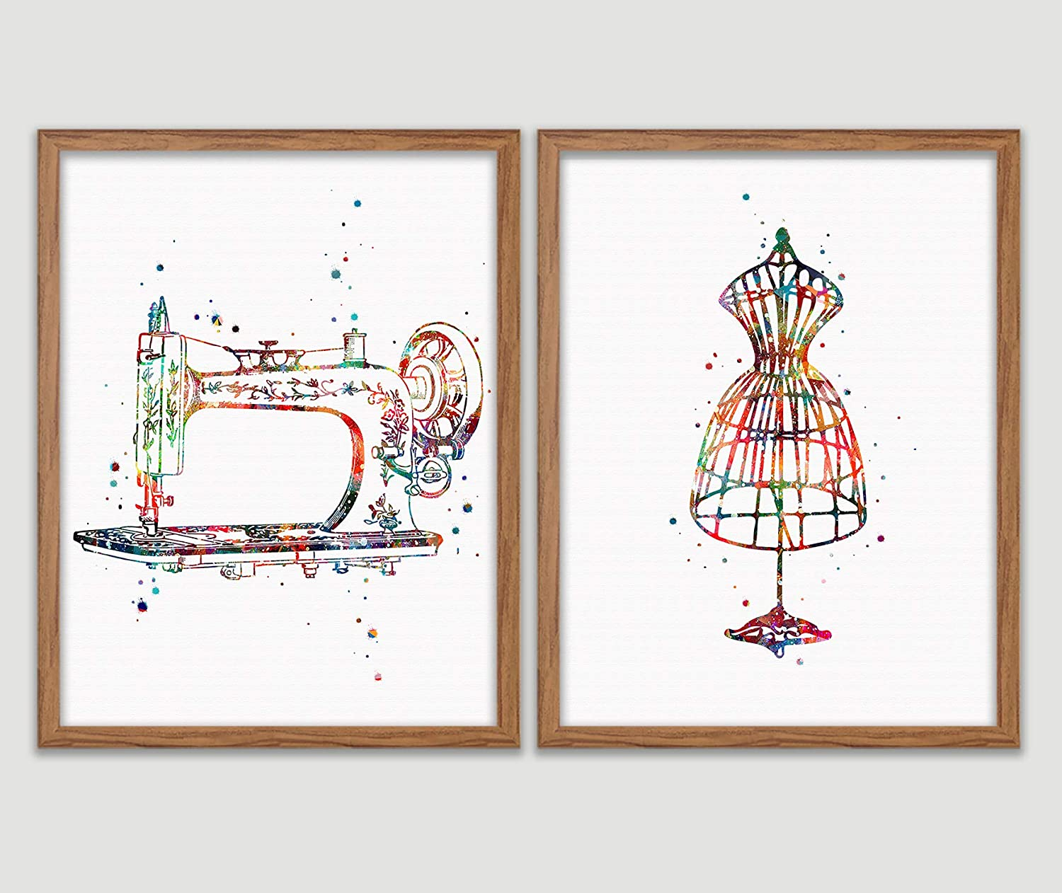 Sewing Watercolor Poster Sewing Room Art Print Craft Room Decor Sewing Machine Dressform Mannequin Seamstress Wall Decor Sewing Room Artworks Tailors Wall Art Home Decor Wall Hanging Gift For Sewer