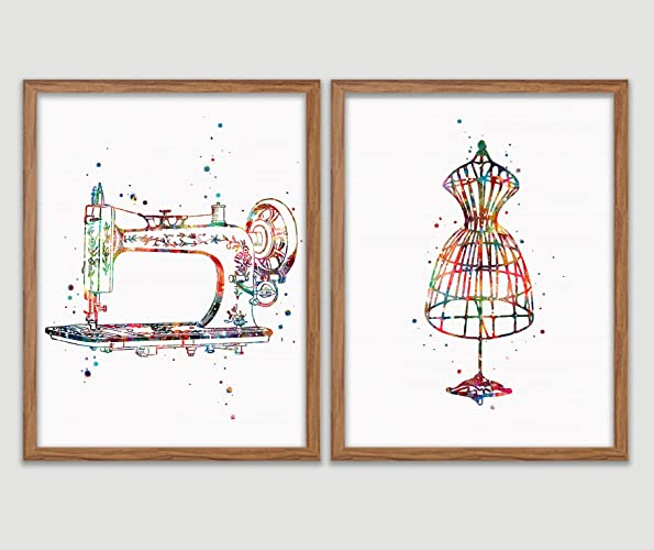 Amazon com: Sewing Watercolor Poster Sewing Room Art Print