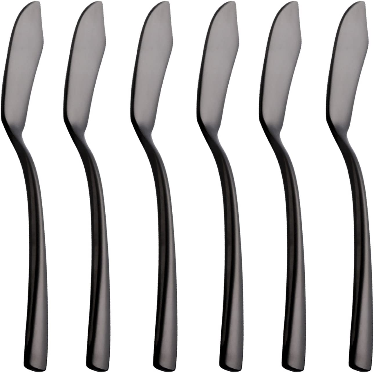 Onlycooker 6 Piece Black Butter Spreader Knife 6.6 inch Stainless Steel Cheese Spreader Knives Sets Silverware Set for 6 Flatware Mirror Polished Dishwasher Safe for Kitchen