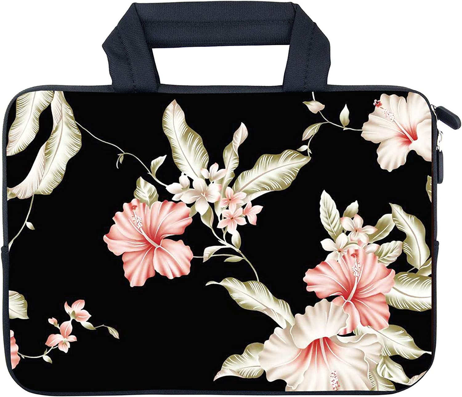 "AMARY 11.6"" 12"" 12.1"" 12.5 inch Laptop Handle Bag Neoprene Notebook Carrying Pouch Chromebook Sleeve Ultrabook Case Tablet Cover Fit Apple MacBook Air HP DELL Lenovo Asus Samsung (Flowers-1)"