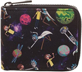 b62a9fc82c9 Adult Swim Rick and Morty Bi-Fold Zip Around Wallet