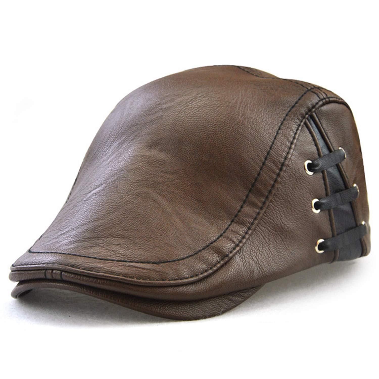 eud-UW PU Leather Berets Caps for Men Autumn Winter Warm PU Hats Cap Flat Caps Beret
