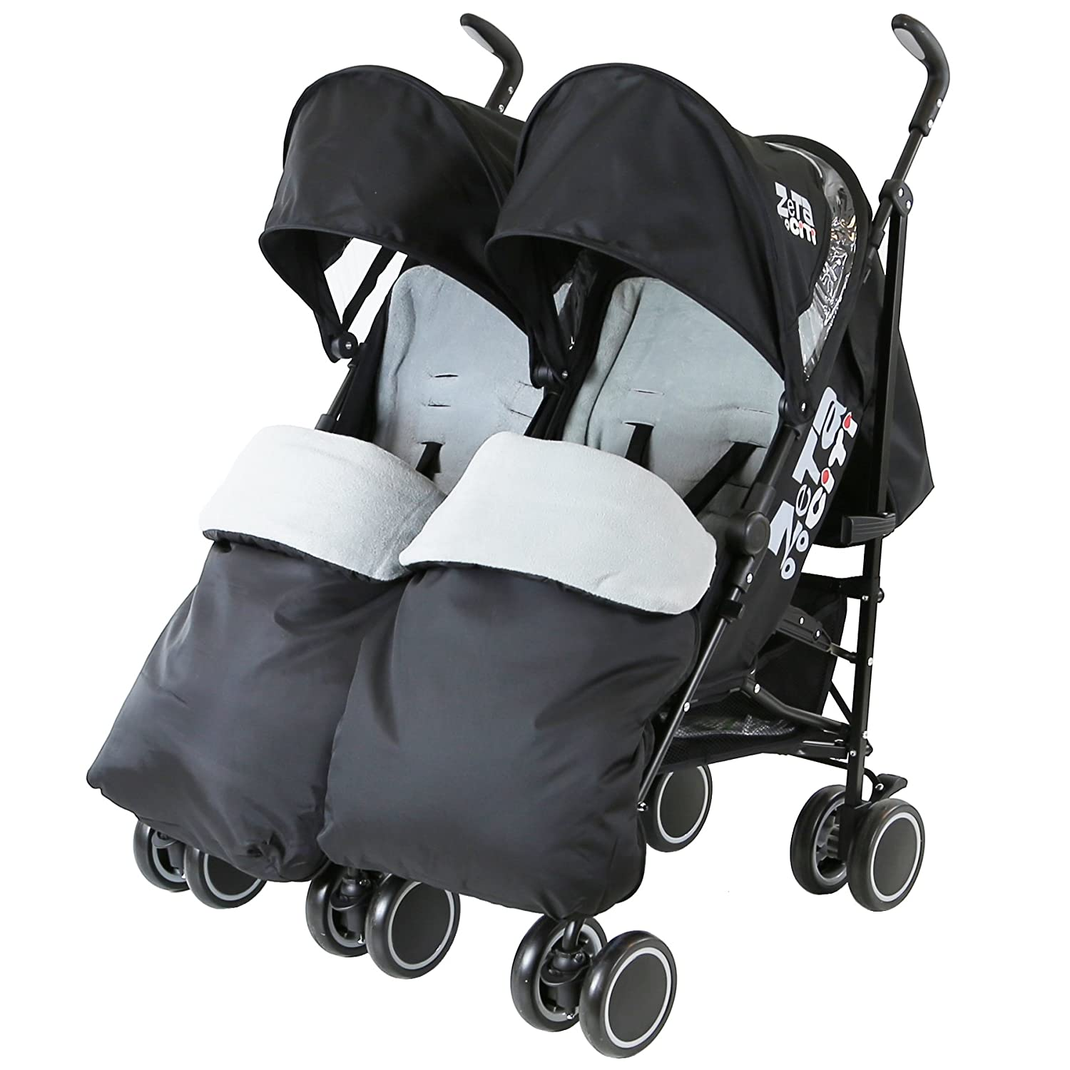 Zeta Citi TWIN Stroller Buggy Pushchair - Black Double Stroller Complete With FootMuffs Baby TravelTM