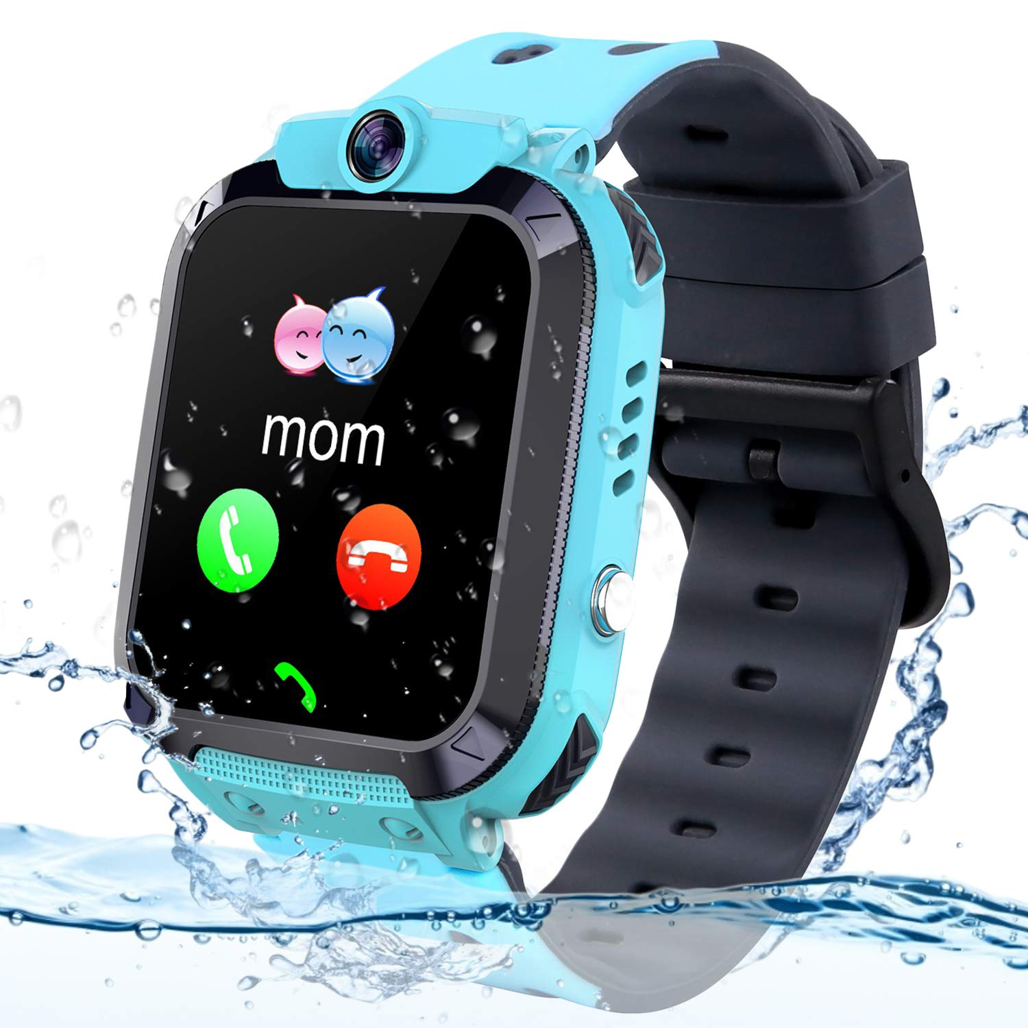 Themoemoe Kids GPS Tracker Watch, Kids Smartwatch IP68 Waterproof With GPS Tracker Phone Alarm Clock Game Camera Compatible with 2G T-mobile Birthday Gift for Kids(S12B-Blue) by Themoemoe