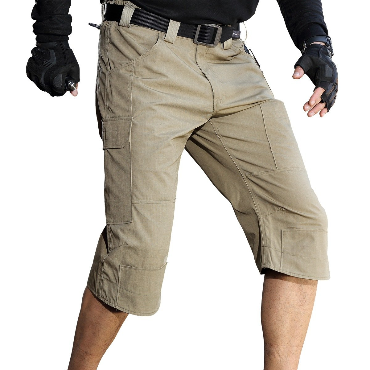 FREE SOLDIER Men's Capri Shorts Pants Casual 3/4 Water Resistant Multi Pockets Tactical Cargo Short (Brown W34)