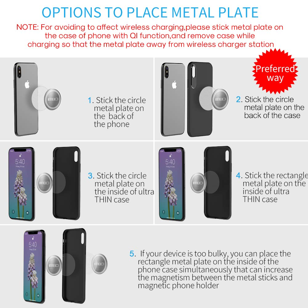 MEIDI Mount Metal Plate 6 Pack Universal Metal Disc Replacement Kit Non-Marking rose-gold