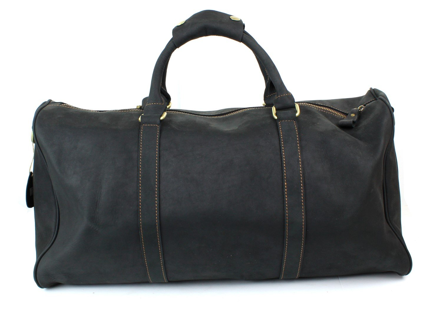 Genuine Leather Duffel Weekender Bag with Shoulder Strap - Black