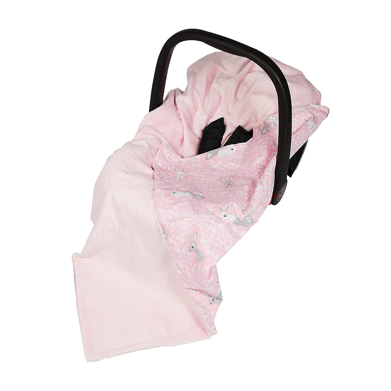 New Double-Sided Baby WRAP for CAR SEAT/Baby Travel WRAP/Baby CAR SEAT Blanket - Pink/Pink Bunny WRAP/Blanket / Cover/COSYTOES - FOOTMUFF! 100x100cm - WRAP with SEAT Belt Holes me baby