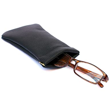 0716befd3e39 Mens Womens Real Leather Glasses Case Snap Top Purse Strong Metal ...