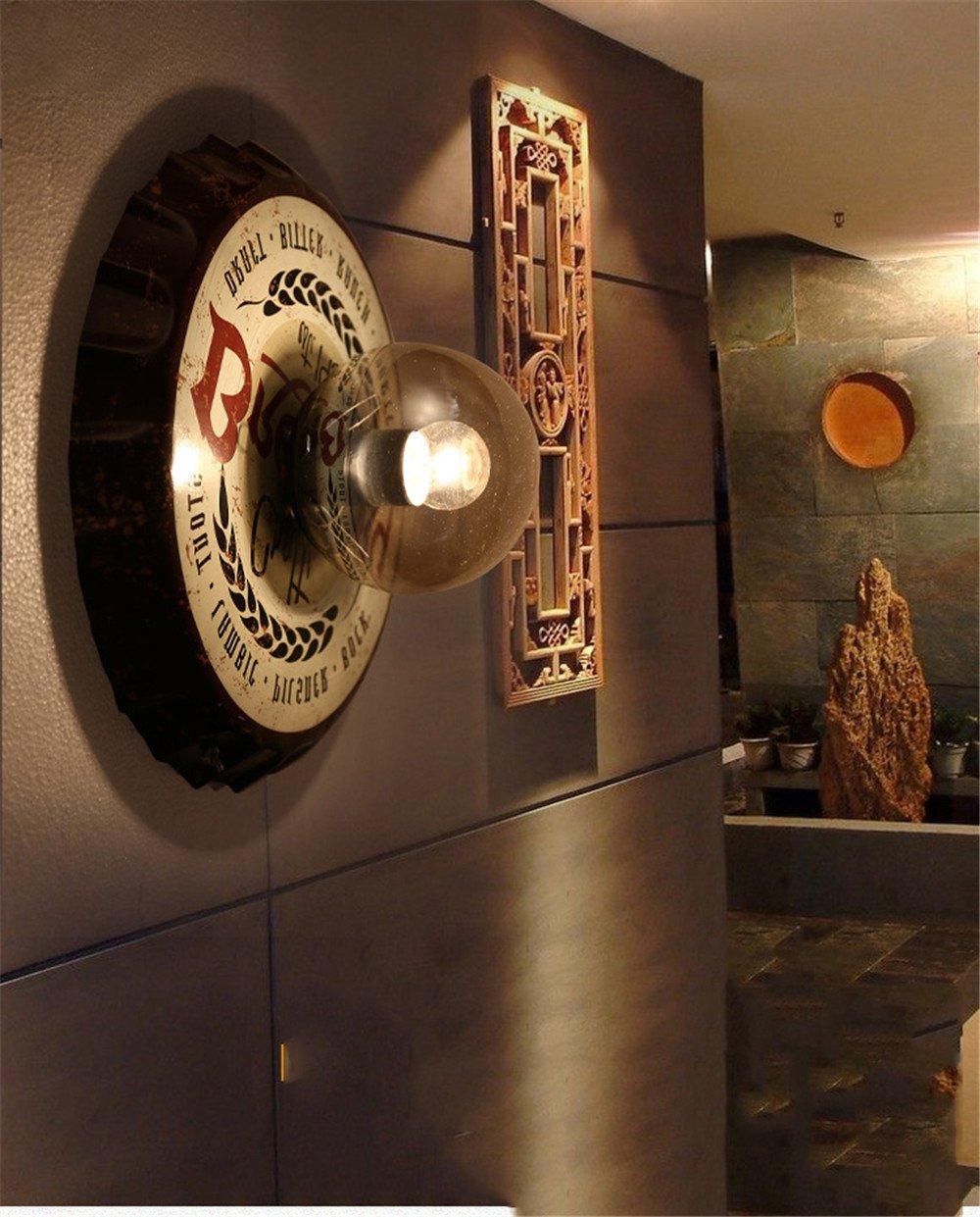 BOOTU LED Wandleuchte nach oben und unten Wandleuchten Industrielle Wandleuchten, Restaurant Lounge Cafe Bier Deckel (ohne Lampe) [Energieklasse A++]