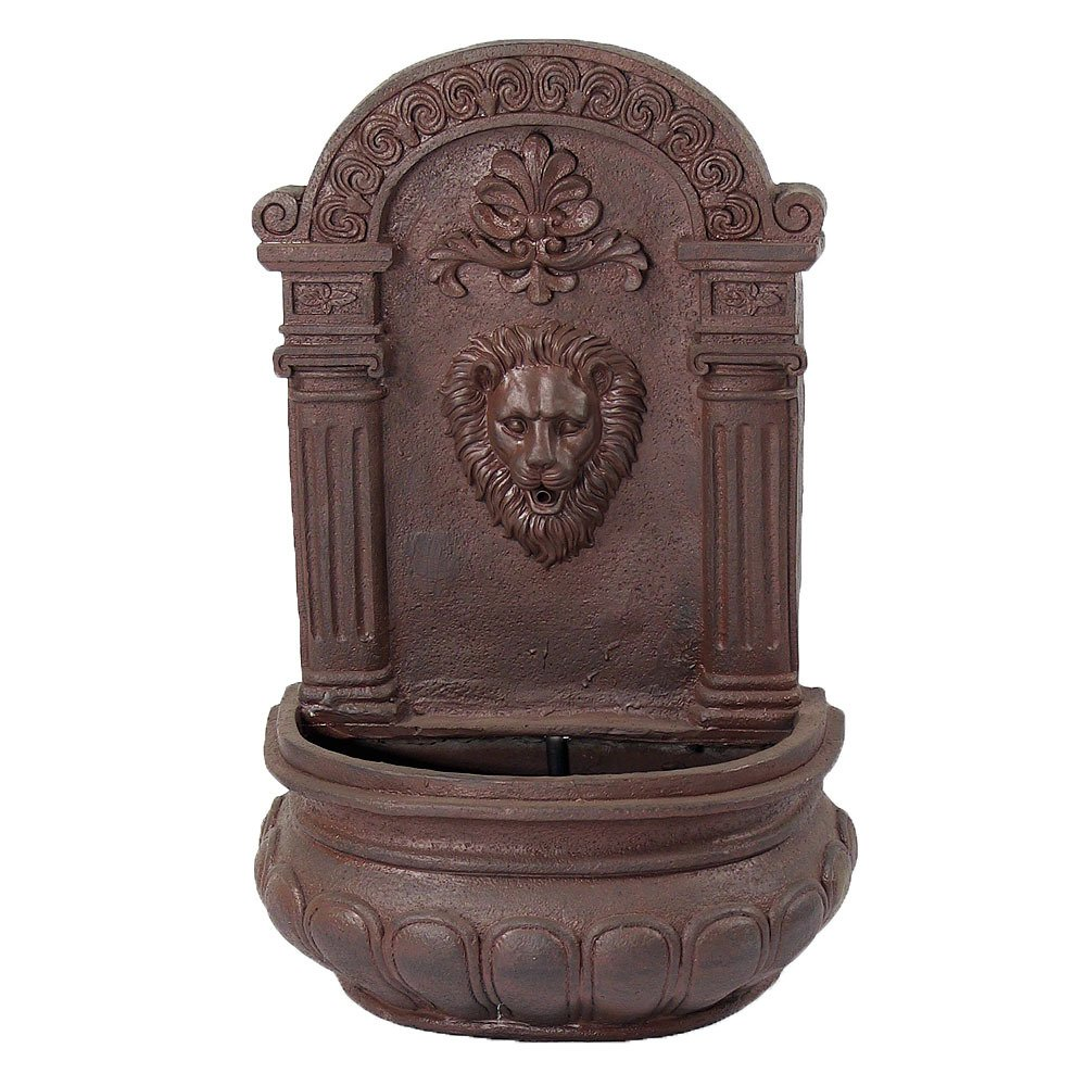 Sunnydaze Imperial Lion Outdoor Wall Fountain with Iron Finish