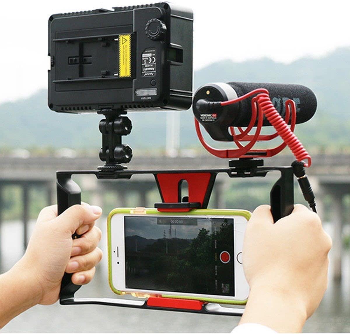 Mini 49 LED Light BOYA by-MM1 on-Camera Microphone Kit for Smart Phone Run Shuangyu Photography Tripod Bracket Video Camera Cage Rig Dual Hand Grip Stabilizer