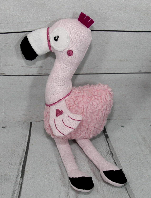 Kuscheltier Flamingo rosa personalisierbar mit Namen 100/% Baumwolle 25 cm x 9 cm x 5 cm Pl/üsch Knisterfolie F/üllung 100/% Polyester Bio Sweat ca