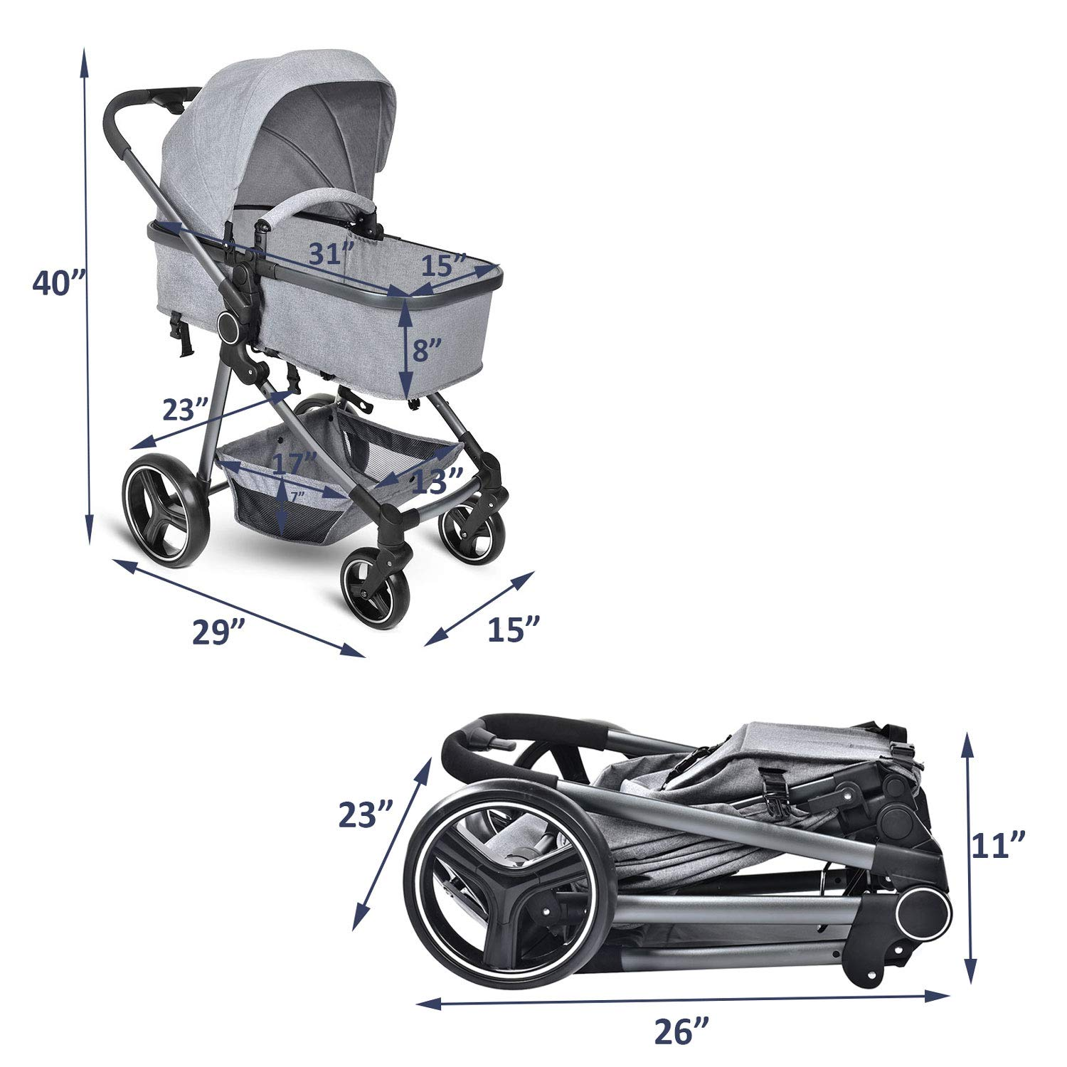 Foldable and Portable Pram Carriage Anti-Shock Pushchair with Aluminum Frame Gray 5-Point Harness and High Capacity Basket Convertible Bassinet Reclining Stroller Cozylifeunion Baby Stroller