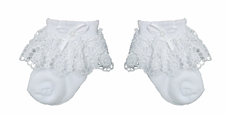 Estamico Newborn Baby Girls Cotton Lace Frilly Socks 3 Pairs