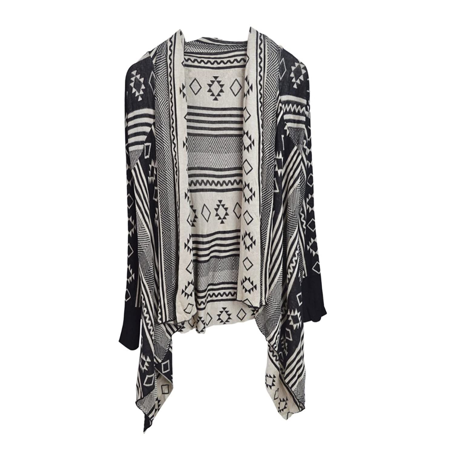 Premium Tribal Aztec Geometric Print Kimono Cardigan Blouse Poncho Sweater Top