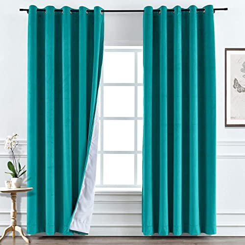 TWOPAGES Turquiose Velvet Wide Width Curtain Blackout Thermal Insulated Grommet Curtain