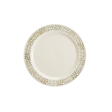 Party Bargains Ivory Gold Plastic Plate | Elegant Gold Lace Rim \u0026 Durable Lace Collection Disposable  sc 1 st  Amazon.com : 6 inch plastic plates - pezcame.com