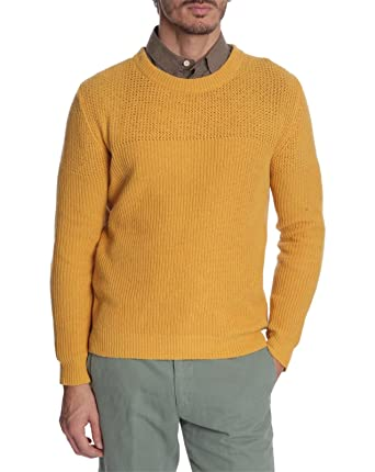 Melindagloss Crew Neck Sweaters Men Mustard Yellow Round Neck