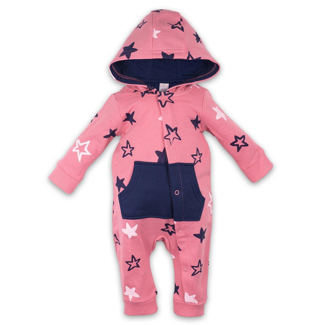 Mädchen Overall Jumpsuit Anzug Strampler Sterne rosa blau 0-3 Monate (56/62) Cutey Pie