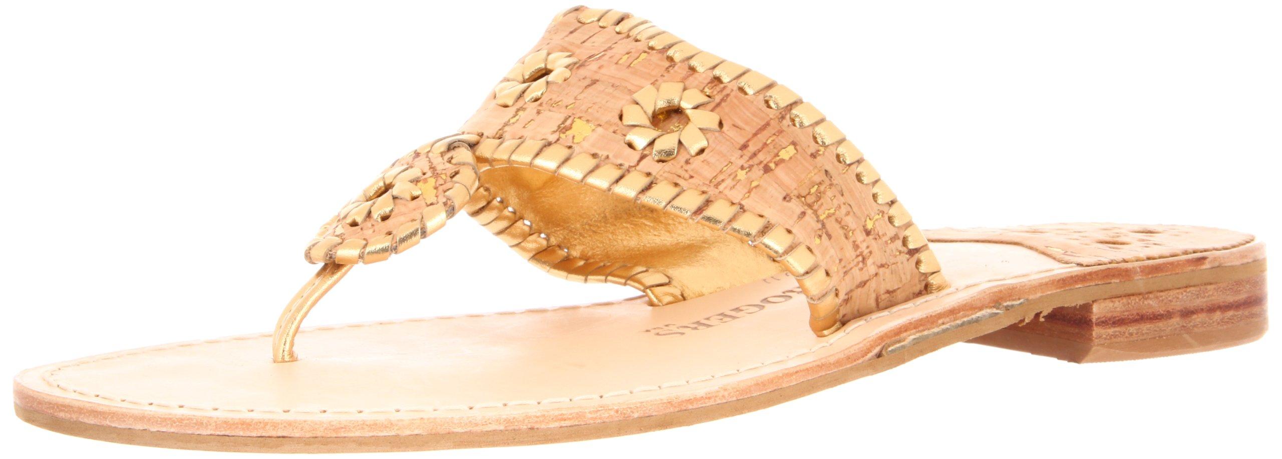 Jack Rogers Women's Napa Valley Thong Sandal,Cork/Gold Fleck,9 M US