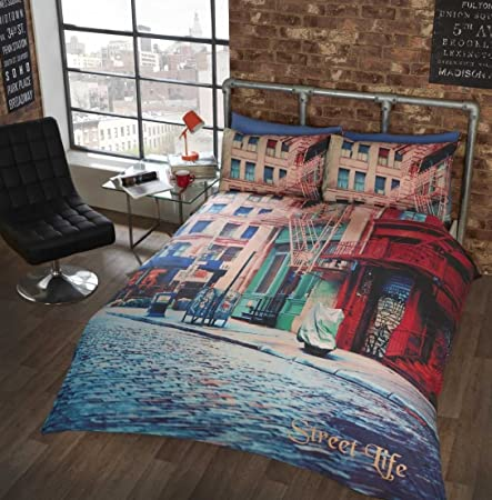 d337b0bd3ea King Size Duvet Cover Set and 2 Pillowcase Urban City Street Quilt Cover  Bed Set Bedding. Photographic print.: Amazon.co.uk: Kitchen & Home