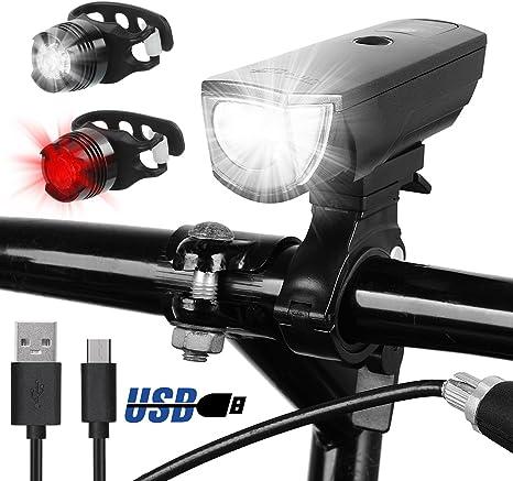 Ultrafire Luces para Bicicleta USB Recargables 5 Modos Set Luz de ...