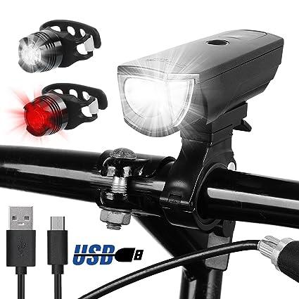 Ultrafire Luces para Bicicleta USB Recargables 5 Modos Set Luz de Bicicleta 350 Lúmenes LED Luz