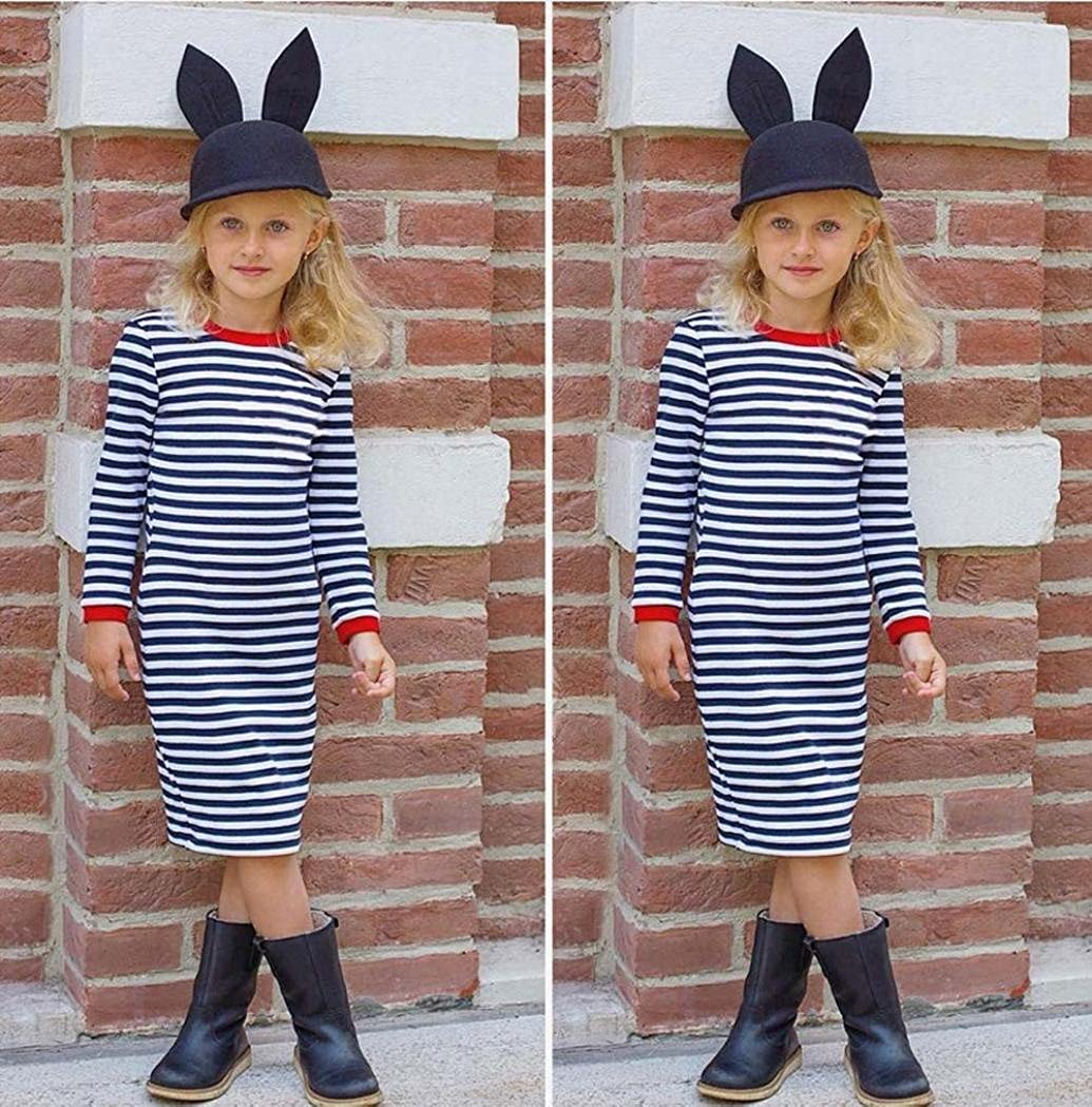 Vicbovo Girls Dresses Casual Kids Toddler Girl Long Sleeve Striped Print Princess Dress Spring Summer Clothes