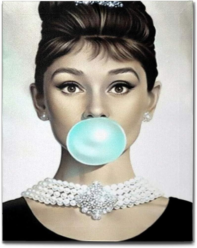 simono Audrey Hepburn Blue Bubble Gum Canvas Wall Art for Home Decor, Modern Wall Artwork Bathroom Bedroom Living Room Wall Decoration