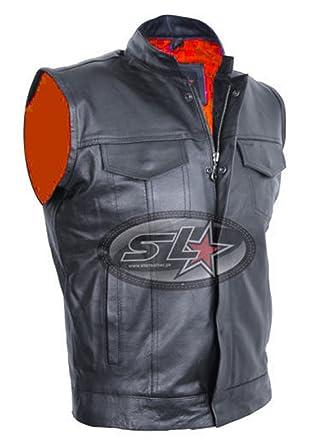 Apparel & Merchandise Mens Cut Off Motorcycle Waistcoat Cowhide Leather Black Biker Vest Jacket Vests