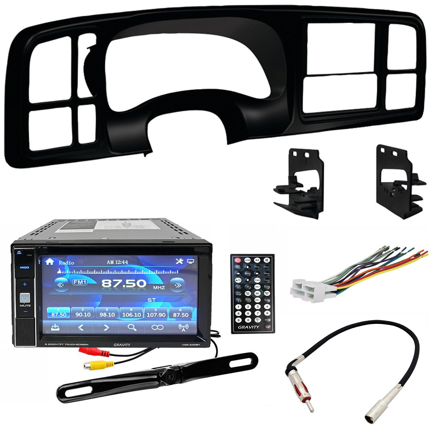 Double DIN DVD Includes Dash Kit - Wiring Harness - Radio Antenna Adapter for 1999 - 2002 GM Full-Size Trucks/SUV's