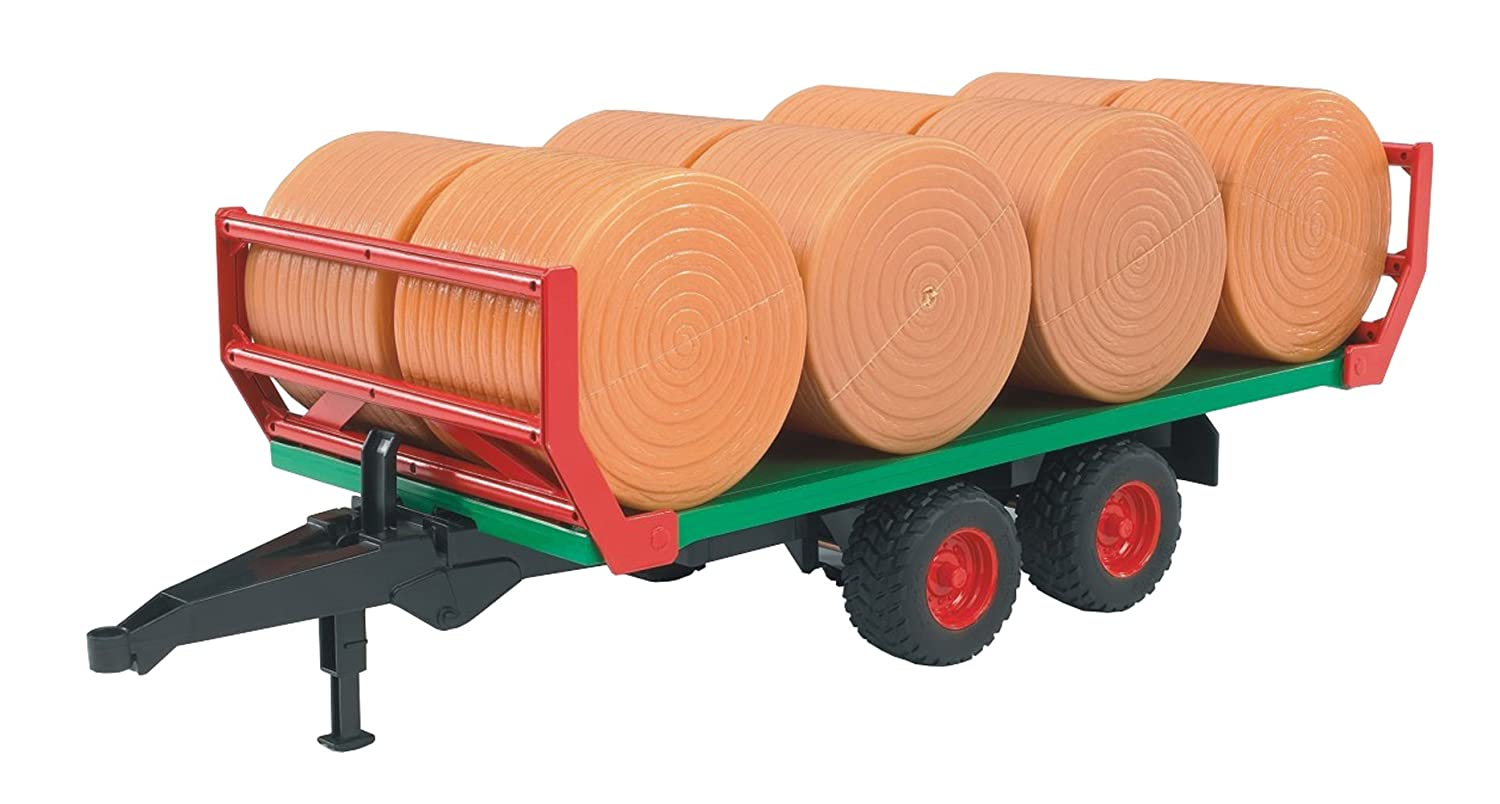Bruder 02220 Bale Transport Trailer with 8 round bales Toys Accessory Vehicles Trucks