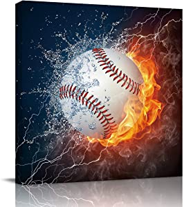 Square Canvas Wall Art Painting for Hotel Office Home Decor,Cool 3D Baseball with Water Fire Prints Artworks for Bedroom Living Room Bathroom,Stretched by Wooden Frame,Ready to Hang,20 x 20 Inch