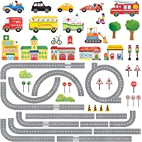 DECOWALL DAT-1404N The Road and Cars Kids Wall Stickers Wall Decals Peel and Stick Removable Wall Stickers for Kids…
