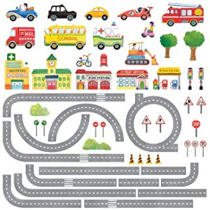 DECOWALL DAT-1404N The Road and Cars Kids Wall Stickers Wall Decals Peel and Stick Removable Wall Stickers for Kids Nursery Bedroom Living Room (Large) décor