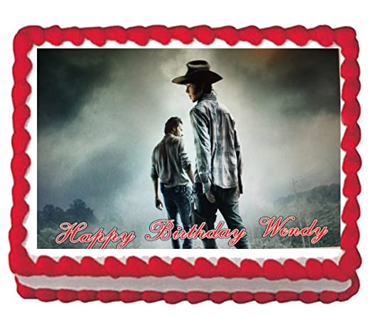 Walking Dead Birthday Party Icing Edible Cake Topper 1//4 frosting sheet